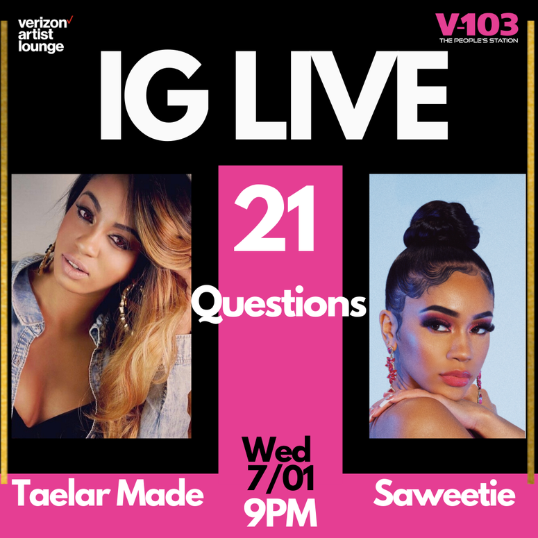 Saweetie at V103 21 Questions with Taelar Made