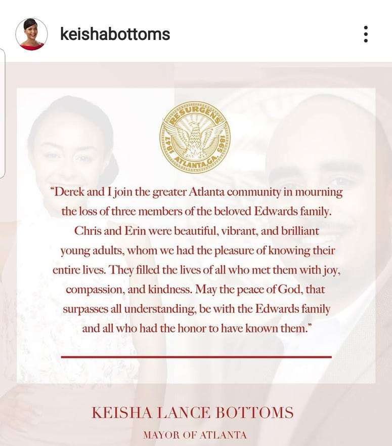 Atlanta Mayor Keisha Lance Bottoms issued a statement following the deaths of Marsha Edwards and her children