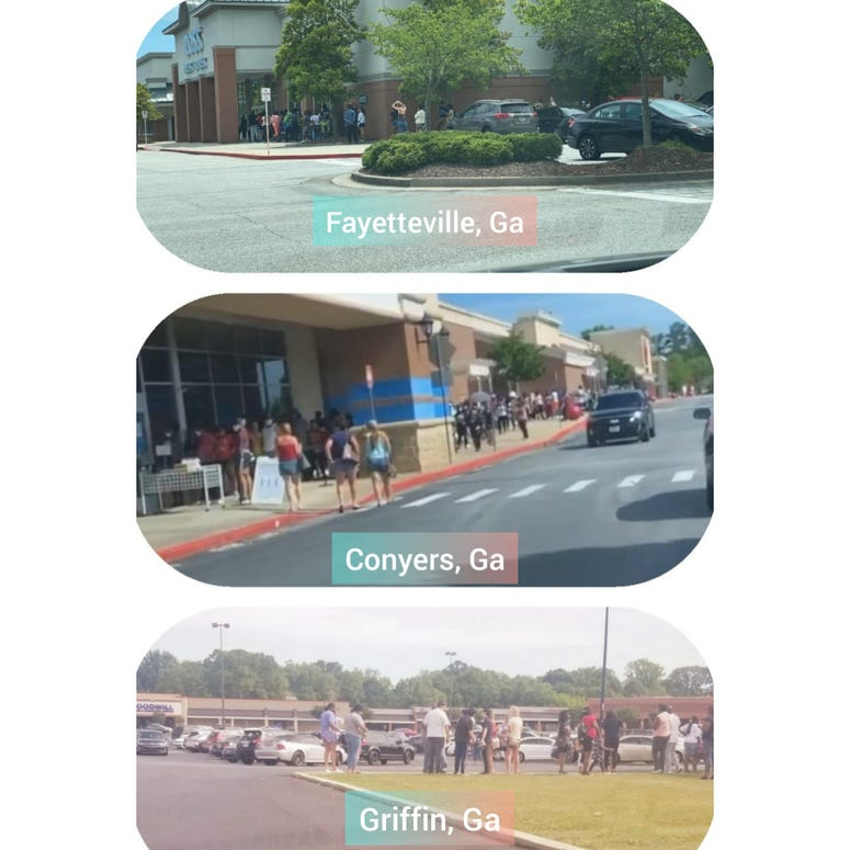 Social media photos outside Ross stores in metro Atlanta show long lines to get in