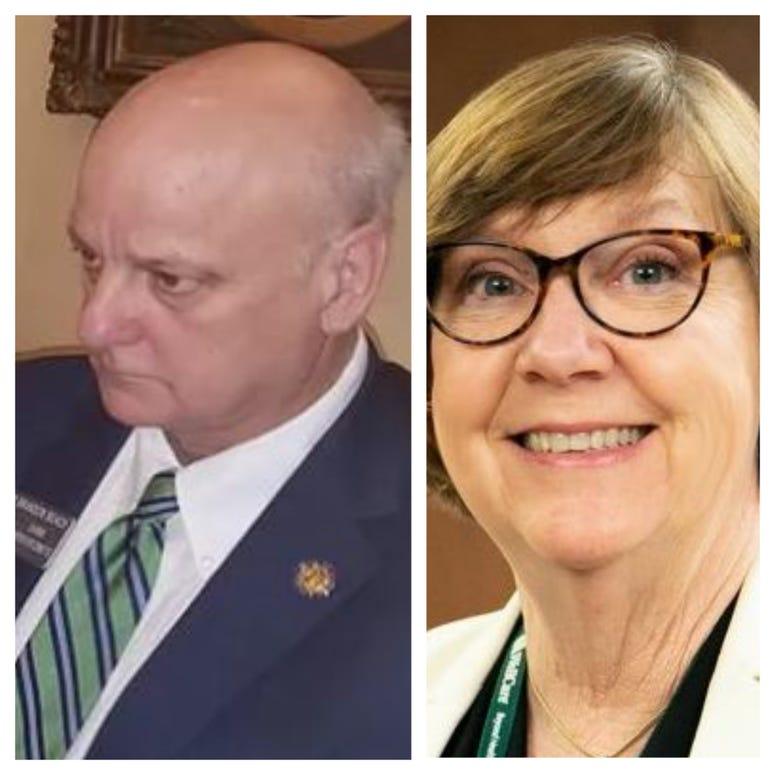 Sen Brandon Beach (l) and Sen Kay Kirkpatrick (r) have tested positive for Coronavirus