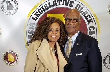 State Representative Calvin Smyre is shown with Radio.com's Maria Boynton during the 2017 GA Legislative Black Caucus dinner in Atlanta