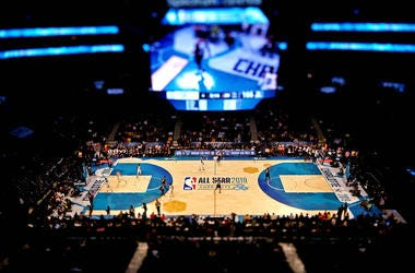 A shot of the court from the 2019 NBA All-Star Game in Charlotte, North Carolina