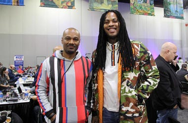 V-103's Big Tigger interviews Waka Flocka Flame during Super Bowl Experience in Atlanta.