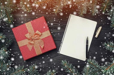 A Christmas card note for Santa