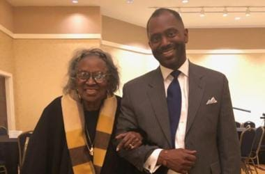 Mrs.  Juanita Abernathy is seen being escorted by her son Kwame on Feb. 16, 2019 during a Black History program in Morrow GA