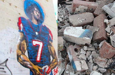 "The Colin Kaepernick ""Kaeplanta"" mural in Atlanta, before and after demolition on the Friday before Super Bowl 53"