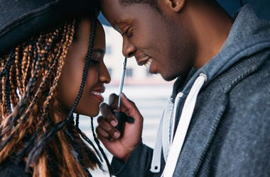 An African-American couple in love