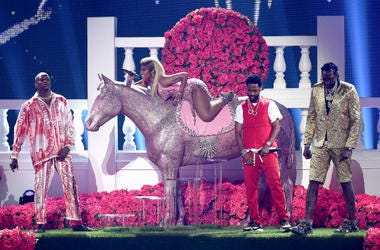LOS ANGELES - JUNE 24: YG, Nicki Minaj, Big Sean, and 2 Chainz performs on the 2018 BET Awards at the Microsoft Theater on June 24, 2018 in Los Angeles, California.