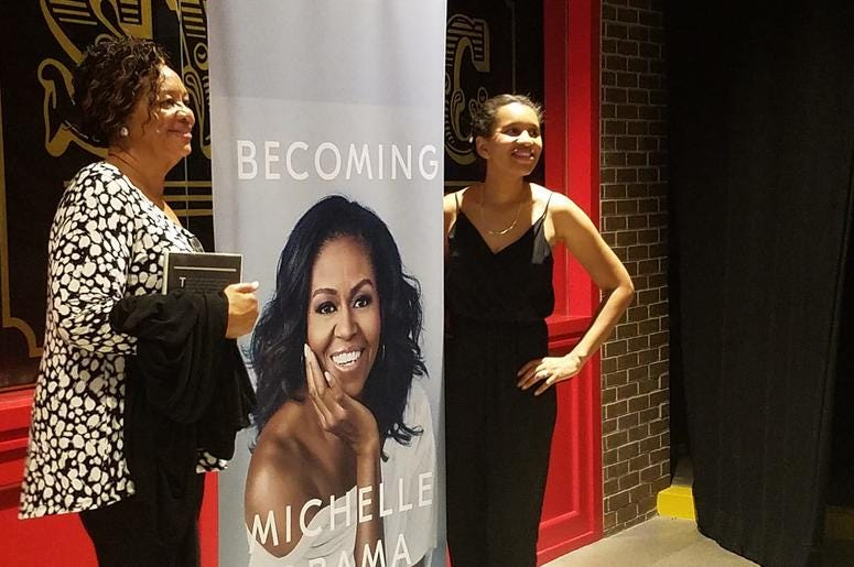 Along with plenty of merchandise for sale, there were also plenty of areas for event-goers to get a photo with Michelle Obama at no cost.