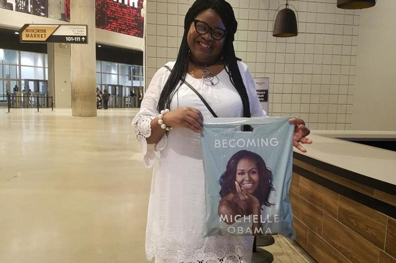 Regina Connor of Atlanta was in the sold out crowd that came to see Michelle Obama Saturday night