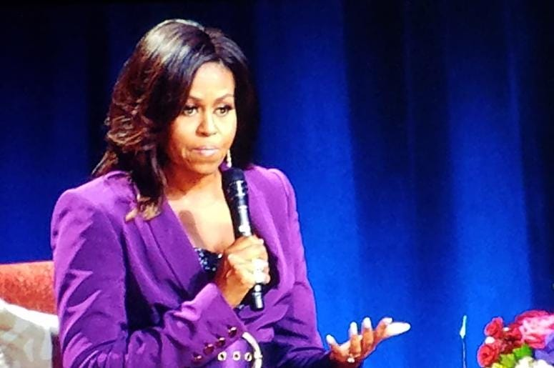 Former first lady Michelle Obama addressed a sold out crowd Saturday at State Farm Arena in Atlanta GA