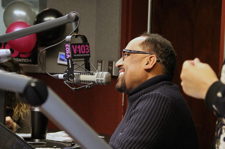 Frank Ski smiles during the first broadcast of V-103's new morning show The Morning Culture