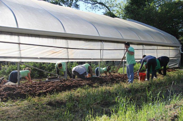 V-103 and Entercom Atlanta employees volunteer at Urban Farms in College Park, GA, on Earth Day 2019