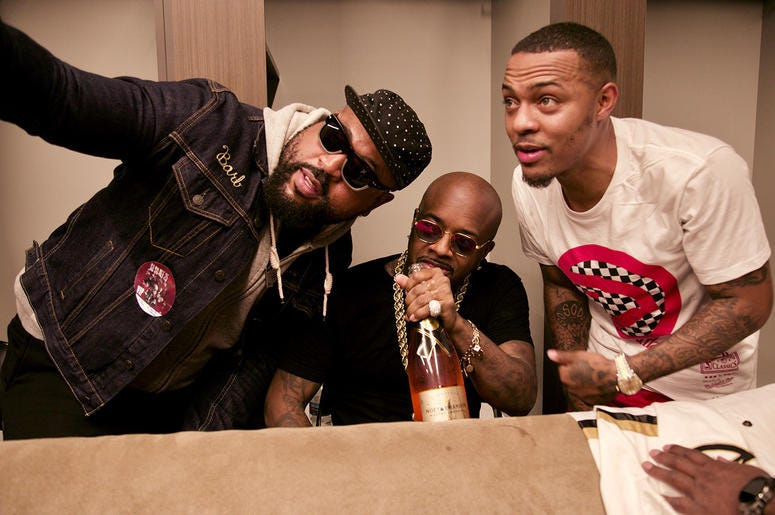 Jermaine Dupri and Bow Wow take a selfie backstage at State Farm Arena