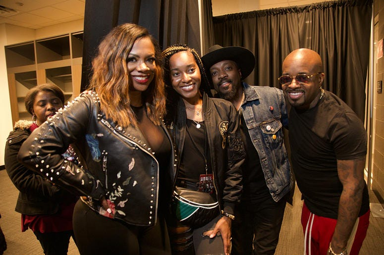 Kandi Burruss, Anthony Hamilton and Jermaine Dupri backstage at State Farm Arena