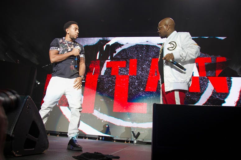 Jermaine Dupri and Ludacris on stage at State Farm Arena