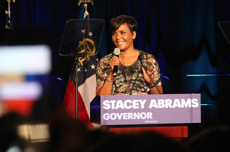 Atlanta mayor Keisha Lance Bottoms speaks at Stacey Abrams' election night campaign party