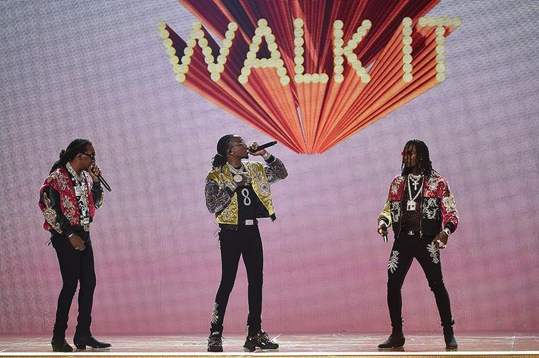"Migos performs ""Walk It Talk It"" at the 2018 BET Awards"