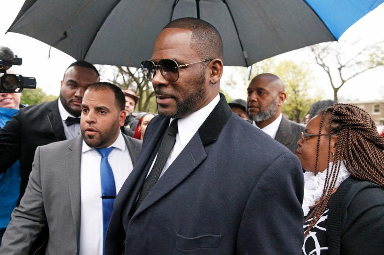 R. Kelly is seen outside a hearing on May 7, 2019