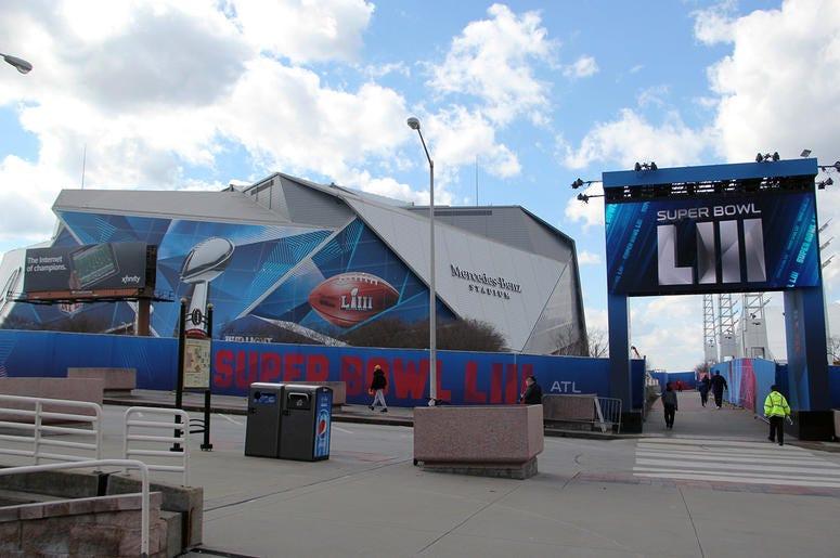Outside Mercedes Benz Stadium before Super Bowl 53 in Atlanta