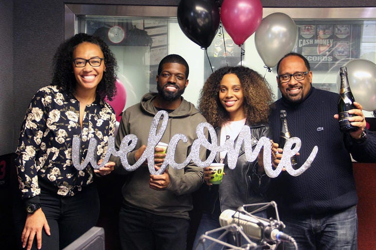 Producer Nina Brown, JR, Jade Novah and Frank Ski of V-103's The Morning Culture