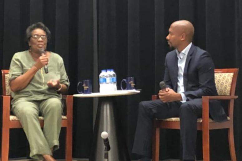 "Olympian Wyomia Tyus (L) during ""A Conversation With Wyomia Tyus"" at GA Tech on Sept 16, 2018."