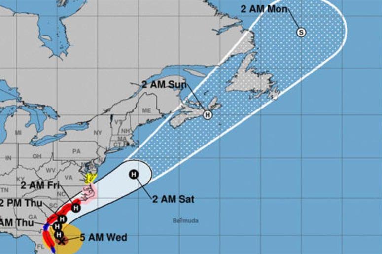 "The National Hurricane Center says Dorian's core ""will move dangerously close to the Florida east coast and the Georgia coast through tonight."
