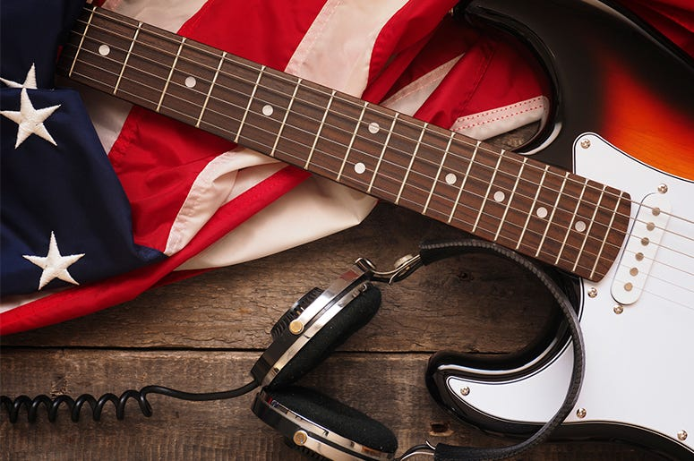 American Flag Headphones Guitar