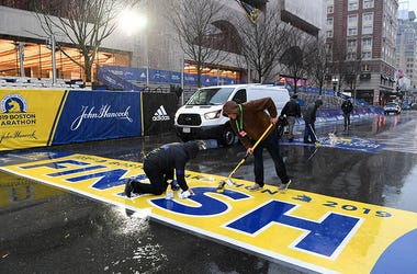 2019 Rain Boston Marathon Finish Line