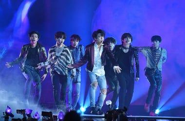 Jungkook, Jimin, V, Suga, Jin, j-hope of BTS perform at the 2018 Billboard Music Awards