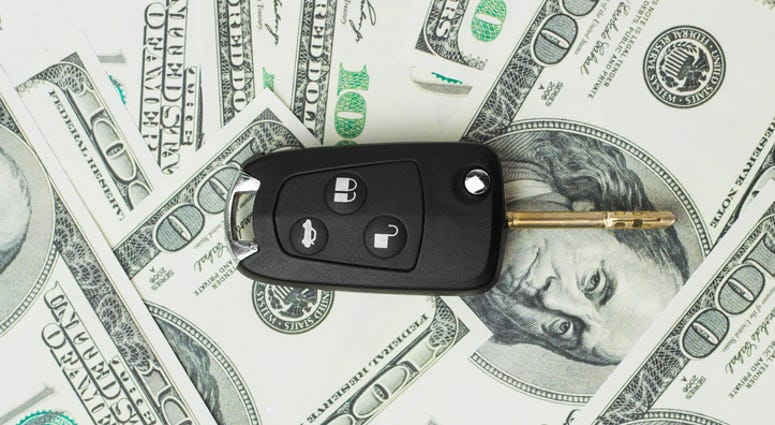 Car key on money
