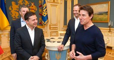Ukraine President of Zelensky meets Tom Cruise