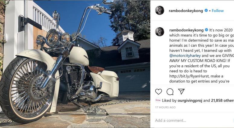 Ryan Hurst giving away motorcycle