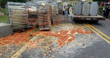 Smashed eggs clutter Route 125