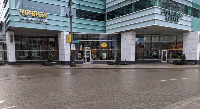 Potbelly and Starbucks near Campus Martius Park Detroit