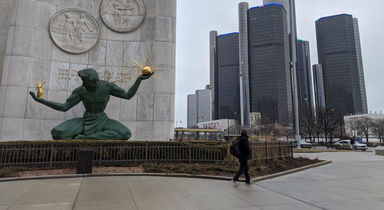 Spirit of Detroit and Renaissance Center