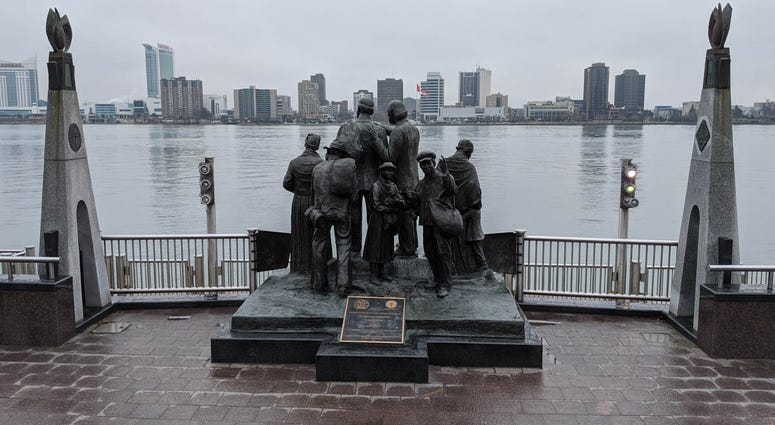 The Gateway To Freedom Statue Detroit Riverfront