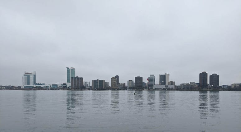 View Of Windsor Canada From Detroit Riverfront