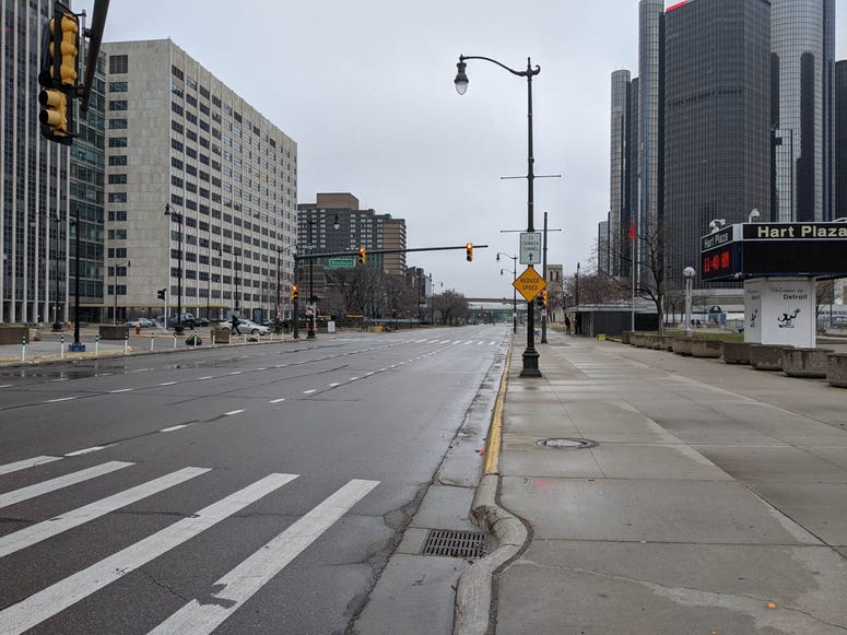 Empty Jefferson Avenue Detroit Coronavirus Stay Home Order