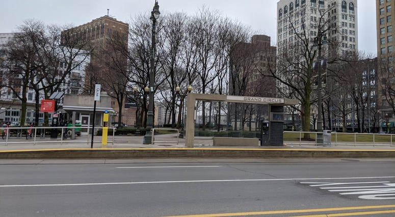 Detroit Q Line Stop Near Wayne State
