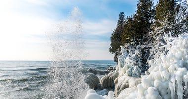Lake Michigan shoreline winter