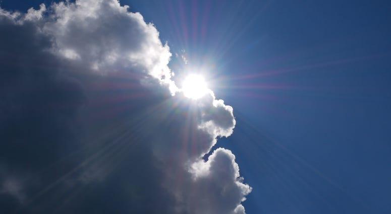 Sun behind clouds