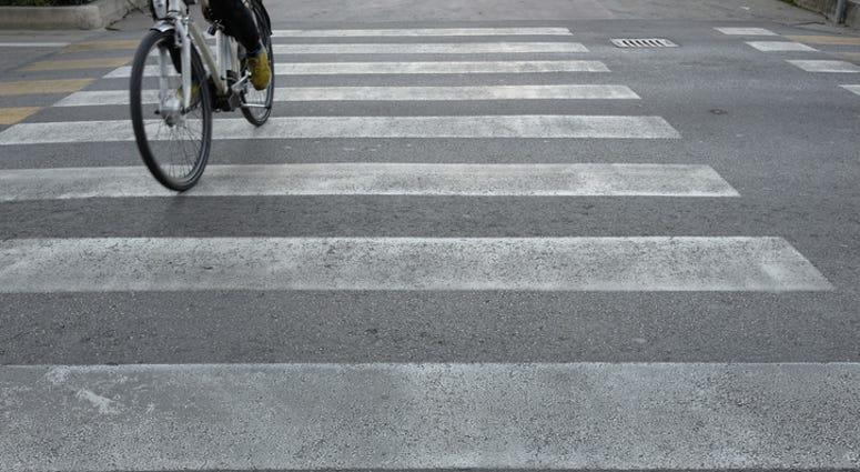 bike in crosswalk