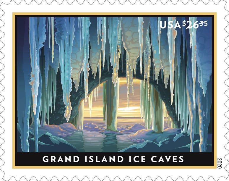 grand island ice caves stamp