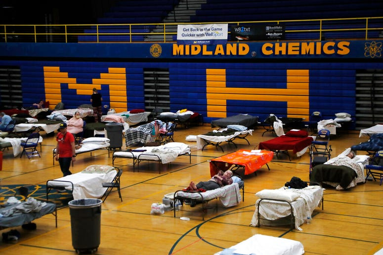 temporary shelter at Midland High School,