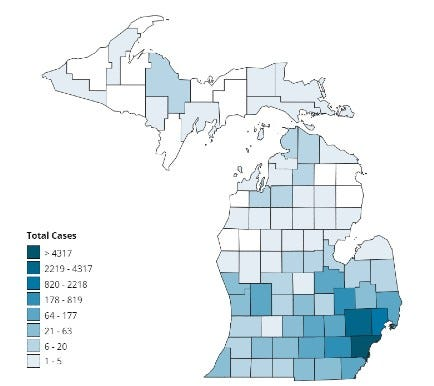 Map of COVID-19 cases by county in Michigan April 3 2020
