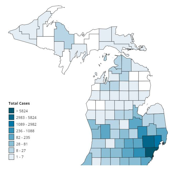 Michigan cases by county April 6