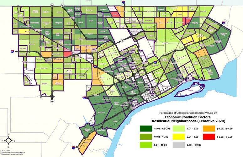 2020 Detroit Residential Assessments Map