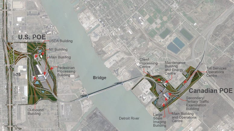 Gordie Howe International Bridge location map