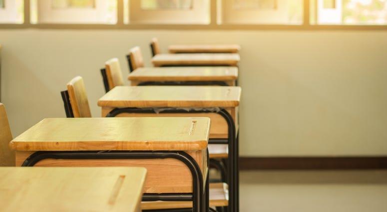 empty classroom school desk